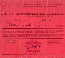 VP11.929 - MILITARIA -1950 - BLUDENZ (Autriche) Bon De Transport Par Chemin De Fer Caporal LAVEDRIME - Titres De Transport