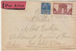 EAC/Avion 3F50 Facchi/Arc   OMEC. Bordeaux 1931 -> Sénégal - Marcophilie (Lettres)