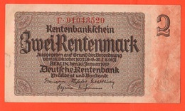 2 Rentenmark 1923 Deutschland German Note - 2 Rentenmark
