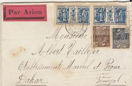 EAC/Avion 3F55 (5c En Trop) Expo Coloniale Internationale Paris OMEC Concordante. Bordeaux 1931 -> Sénégal - Marcophilie (Lettres)