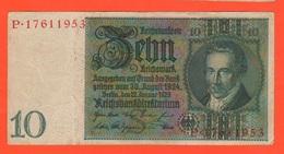 10 Reichsmark 1929 Deutschland German Note - [ 3] 1918-1933 : Weimar Republic
