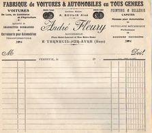 VP11.932 - Facture Vierge - Fabrique De Voitures & Automobiles .... André FLEURY à VERNEUIL SUR AVRE ( Eure ) - Cars