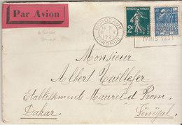 EAC/Avion 3F50  (2F Semeuse/ Facchi )OMEC Bordeaux 1931 -> Sénégal - Marcophilie (Lettres)