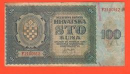 Croazia Hrvatska 100 Kuna 1941 War Currency - Croazia