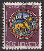 Svizzera 1968 Sc. B375 Rose Window, Lausanne Cathedral - Leo - Leone Used  Helvetia Switzerland - Vetri & Vetrate