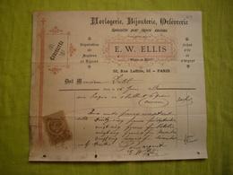 Lot De 3 Jolies Factures Illustrées 1888 Horlogerie à Paris Avec TP Fiscaux - Frankreich
