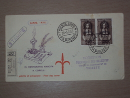 TRIESTE AMG-FTT AMG FTT ITALIA BUSTA PRIMO GIORNO FDC F.D.C. RACCOMANDATA REALMENTE VIAGGIATA 1953 ARCANGELO CORELLI - Storia Postale