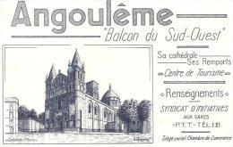 BUVARD VILLE  ANGOULEME  CHARENTE BALCON SUD OUEST CATHEDRALE SAINT PIERRE - Buvards, Protège-cahiers Illustrés