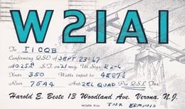 CARTOLINA - POSTCARD - RADIO AMATORI - Harold E. Beste 13 Woodland Ave NJ - Radio Amatoriale