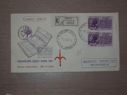 TRIESTE AMG-FTT AMG FTT ITALIA BUSTA PRIMO GIORNO FDC F.D.C. RACCOMANDATA REALMENTE VIAGGIATA 1954 DENUNCIA REDDITI - Storia Postale