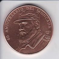 MONEDA DE CUBA DE 1 PESO DEL AÑO 1993 DEL 40º ANIVERSARIO DEL MONCADA (FIDEL CASTRO) - Cuba