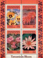 Tanzania 1986 M/S Bloom Plants Flowers Flora Nature Flower Plant Nersium Oleander Nymphaea Caerulea Stamps MNH - Tanzania (1964-...)