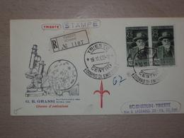 ITALIA BUSTA PRIMO GIORNO FDC F.D.C. RACCOMANDATA REALMENTE VIAGGIATA TRIESTE 1955 BATTISTA GRASSI - 6. 1946-.. Repubblica