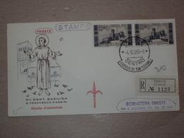 ITALIA BUSTA PRIMO GIORNO FDC F.D.C. RACCOMANDATA REALMENTE VIAGGIATA TRIESTE 1955 BASILICA SAN FRANCESCO - 6. 1946-.. Repubblica