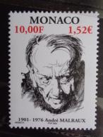 MONACO 2001 Y&T N° 2301 ** - CENTENAIRE DE LA NAISSANCE DE L'ECRIVAIN ANDRE MALRAUX - Monaco