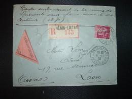 LR CR TP PAIX 1F75 OBL.4-11 33 HENIN-LIETARD PAS DE CALAIS (62) LEON MOMAL Huissier - Posttarieven