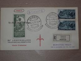 ITALIA BUSTA PRIMO GIORNO FDC F.D.C. RACCOMANDATA REALMENTE VIAGGIATA TRIESTE 1956 TRAFORO DEL SEMPIONE - 6. 1946-.. Repubblica