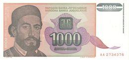 YUGOSLAVIA 1000 DINARA 1994 P-140a UNC  [YU140a] - Jugoslawien