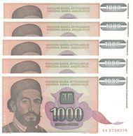 YUGOSLAVIA 1000 DINARA 1994 P-140a UNC 5 PCS  [YU140a] - Yugoslavia