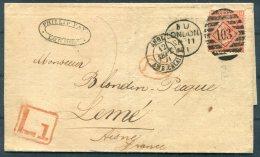 1871 GB 4d Orange (plate 12) London Late L1 - France - Storia Postale