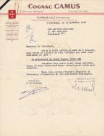 Ancien Courrier Cognac CAMUS à Cognac 1946 - Alimentaire