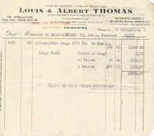 Ancienne Facture Vins En Gros Louis Et Albert THOMAS Paris 1947 - Alimentaire