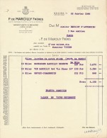 Ancienne Facture P DE MARCILLY Frères Négociants Vins Beaune 1948 - Alimentaire