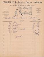 Ancienne Facture Fabrique De Jouets Farces Attrapes MURAT Et Cie Paris Rue Du Temple 1944 - Petits Métiers