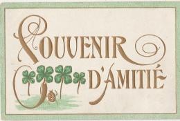 FANTAISIE - Carte Gaufrée Dorée -  Souvenir D'Amitié - Trèfles - Coccinelle - Non Classés