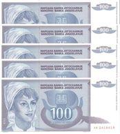YUGOSLAVIA 100 DINARA 1992 P-112a UNC 5 PCS [YU112a] - Yugoslavia