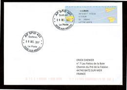 Enveloppe Avec Vignette D'affranchissement De Guichet MOG SPID  LIBAN AP SPID 422 93 LIBAN Du 08 12 2017 - Marcophilie (Lettres)