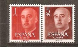España/Spain-(MNH/**) - Edifil  1290-91 - Yvert  971-72 - 1951-60 Nuevos & Fijasellos