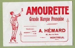 """BUVARD  : """" Liqueur  AMOURETTE - A. HEMARD """" à MONTREUIL - Liqueur & Bière"""
