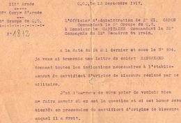 VP11.939 - MILITARIA - Guerre 14 - 18 - Lettre Du Q.G . Officier D'Administration De 2 ème Cl . CARON - Documents