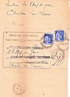 Paix 368 X 2 Sur Avis De Colis Postal De Chalon-sur-Saône  (1939) + Obl. St Germain-du-Plain - 1932-39 Peace