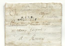 Loire Infériieure - Guérande Pour Rennes. LAC écrite En L'An II à St Nazaire. Indice 13 - Marcophilie (Lettres)