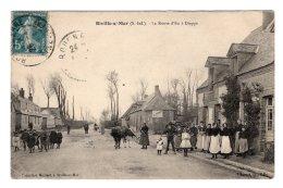 CPA   76   BIVILLE-SUR-MER---LA ROUTE D'EU A DIEPPE+UNE CPA DONNEE ROUTE D'EU TROUEE---1911 - Francia