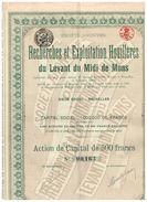 Action Ancienne - Recherches Et Exploitation Houillères Du Levant Du Midi De Mons - Titre De 1919 - N°00458 - Mines