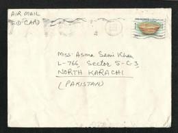 United Arab Emirates UAE Air Mail Postal Used Cover Abu Dhabi To Pakistan Archaeology Stamps - Abu Dhabi