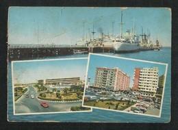 Saudi Arabia Picture Postcard 3 Scene Port King Abulaziz Street Airport View Card  Some Crease - Dubai