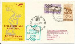 Italy Cover Lufthansa Olympia Flight Rome - Frankfurt - Hamburg 25-8-1960 - 6. 1946-.. Repubblica