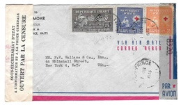 Haiti 1945 Double Censored Air Mail Cover Port Au Prince To US Sc RA4 Postal Tax Stamp 366 C26 - Haiti