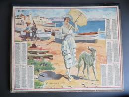 Calendrier Grand Format 1922 Femme Art Déco Chien Lévrier Sur La Plage Du Lavandou - Calendars