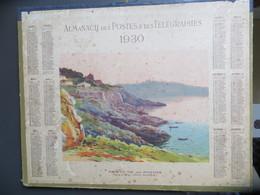 Calendrier Grand Format Almanach Postes Et Télégraphes 1930 Sous Le Tir Aux Pigeons Aquarelle De Léon Roger - Calendars