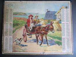Calendrier Grand Format 1924 Promenade Sur La Côte Bretonne Attelage Ane Femme Chien - Calendars