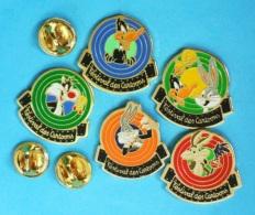5 PIN'S //   ** FESTIVAL DES CARTOONS ** . (Danone™ & © 1991 Warner Bros INC) - Badges