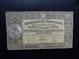 SUISSE : 5 FRANKEN   22.10.1936   P 11h   B - Suiza