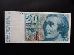 SUISSE : 20 FRANKEN   (19)86   P 55f   Signature 57     TTB+ - Suisse