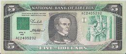 LIBERIA=1989    5  DOLLARS     P-19    UNC - Liberia