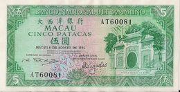 MACAU=1981   5  PATACAS     P-58    UNC - Macau